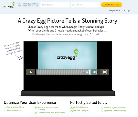 crazy egg landing page video